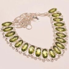 """Faceted Green Amethyst Wholesale 925 Sterling Silver Necklace 16-17.99"""" N-11752"""