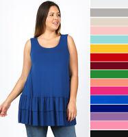 1X 2X 3X Women's Flowy Ruffle Hem Tank Top Loose Tunic Soft Knit Sleeveless Plus