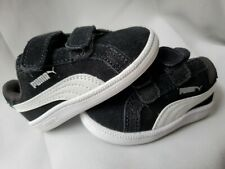 Puma Baby Boy Size 4C Black White Suede Tennis Shoes Sneakers B3