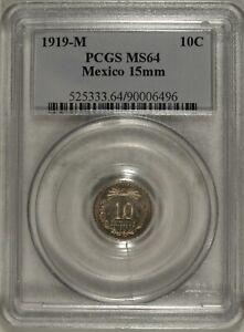 1919 M Mexico 10 Centavos ☆☆ PCGS MS 64 ☆☆ 496