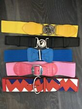 NEW Lot 5 Solid Color Elastic Stretch Belts Blue Black Pink Yellow Salmon O/S b4