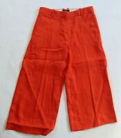 J Crew Womens Linen Solid Orange Wide Leg Cropped Capri Khaki Pants 4 Petite