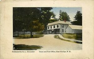1918 NEW HAMPSHIRE POSTCARD: POST OFFICE, EAST RINDGE, NH ALEXANDER PUB.