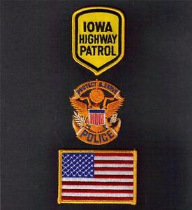 IOWA STATE Highway Patrol POLICE Sew On Iron On EMBROIDERED PATCH 3 Pcs New