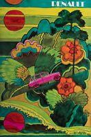 Original Vintage Poster - Renault R16 - Car - Psychedelic - Hippie - 1970