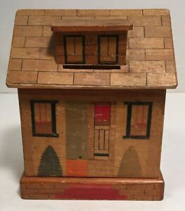 vintage Wood House BANK with Secret Opening Japan