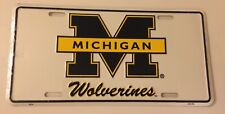 MICHIGAN WOLVERINES EMBOSSED LICENSE PLATE WHITE FREE SHIPPING BRAND NEW
