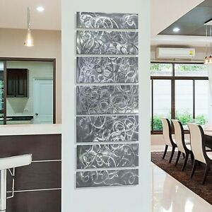 Large Silver Abstract Metal Wall Art Panels Home Office Decor Signed Jon Allen