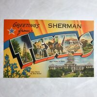 Sherman Texas Large Letter Postcard Grayson County 1948 Oil Cowboys Capitol D1