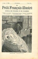 L'heure de la sieste de bébé dans son berceau & du grand-père par GRAVURE 1895