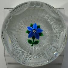 Selkirk Glass Faceted Latticino Flower Basket Paperweight