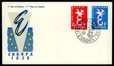 """BELGIUM - BELGIO - 1958 - Europa Unita - Lettera """"E"""" e colomba"""