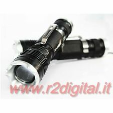 LAMPADA TORCIA POLICE 30000W LED POTENTE RICARICABILE POWER ZOOM BATTERIA 14500