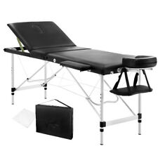 Portable Aluminium 3 Fold Massage Table Chair Bed Black 60cm