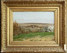 19th CENTURY FRENCH IMPRESSIONIST OIL - LANDSCAPE VILLAGE - STAMPED LOWER RIGHT