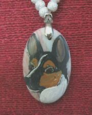 Rat Terrier hand-painted on oval pendant/bead/necklace