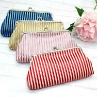 Retro Women Girls Handmade Striped Long Wallet Coin Purse Hasp Clutch Change Bag