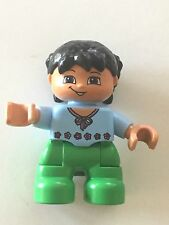 *NEW* Lego DUPLO GIRL GREEN Legs MEDIUM BLUE Top w PINK FLOWERS BOW BLACK Hair