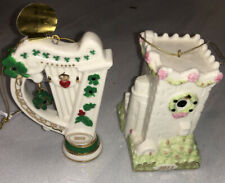 Danbury Mint Irish 2 Ornament Lot Harp & Blarney Castle Nice!