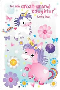BIRTHDAY CARD FOR YOU GREAT GRANDDAUGHTER - UNICORNS