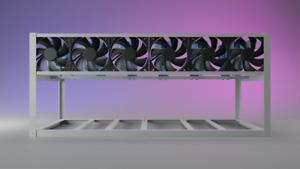 6 GPU Aluminum Mining Rig Open Air Frame Case Ethereum, bitcoin, eth, btc, etc