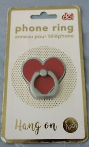 DCI Phone Ring Square RED HEART Shape Bling Finger Ring Hang On Iphone NEW $25