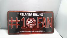 Official NBA Atlanta Hawks Bling #1 Fan Metal Auto Tag Plate 12 x 6 Inch Red