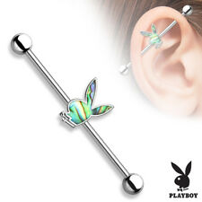 "14g 1 1/2"" Licensed Play Boy Bunny Industrial Ear Barbell Abalone Shell Inlay"
