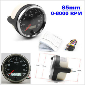 85mm 12V/24V 0-8000RPM Tachometer Gauge Tacho Meter w/ Digital LCD Hourmeter Kit