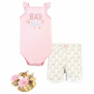 Little Treasure Cotton Bodysuit, Pant and Shoe Set, Beach Babe