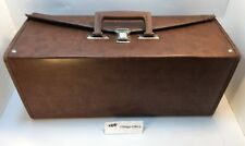 DARK BROWN FAUX LEATHER 8 TRACK CASSETTE STORAGE CASE, Holds 24 Tapes *VINTAGE*