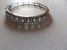 Rhodium plated genuine blue topaz set sterling silver hinged bangle WL135-2