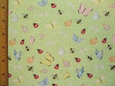 Lady Bugs Butterflies Bees Garden end of bolt fabric BY THE YARD See Full Info