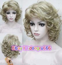 Ladies Light Blonde Medium Length Curly women Natural Hair full wig + Wigs cap