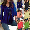 Women Lady V Neck Tops Long Sleeve Shirt Casual Lace Blouse Top Plus Size 4XL