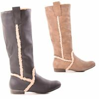 LADIES WOMENS KNEE HIGH FLAT CASUAL COMFY FASHION ZIP FUR STYLE BOOTS SIZE 3-8