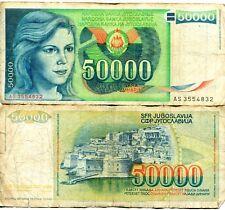Yugoslavia 50000 Dinar Dinara 1988 Communist Currency Money Banknote VG-F