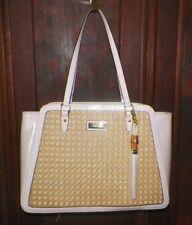 Anne Klein Pink/Natural Bamboo Satchel Handbag Tassel Faux Patent Leather