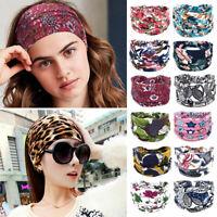 Women Boho Wide Cotton Stretch Headband Turban Sports Yoga Knotted Headwrap New