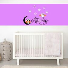 Personalized Custom Name Owls Wall Decal Vinyl Sticker Decal Baby Crib Decal
