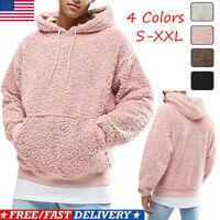 Men Winter Fluffy Hoodie Pullover Fleece Sweatshirt Hooded Coat Sweater Jumpers