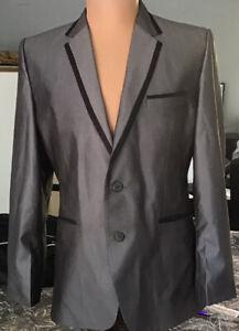 Mens Silk Suit. Silver Grey/black Trim. Med. 32 Pants