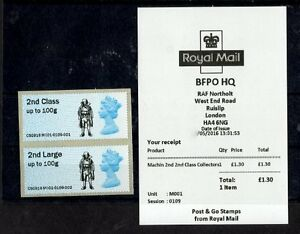 Post & Go M001 2016 BFPO HQ 2nd Class Collectors Strip 'FLASHER' Logo NORTHOLT
