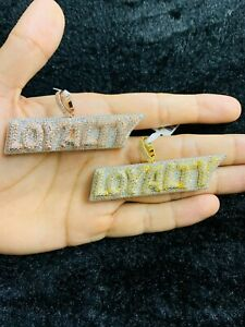 14k Gold Finish Loyalty Hip Hop Simulated Diamond Charm Pendant w/ Rope Chain