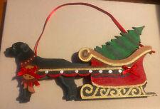 Dandy Design Black Labrador Retriever Pulling Tree In Sleigh Christmas Ornament