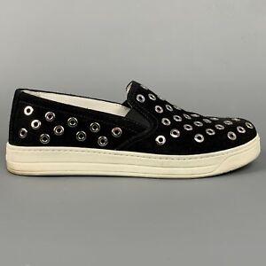 PRADA Sport Size 7.5 Black & Silver Grommet Suede Slip On Sneakers