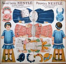 Paper Doll 1900 Nestle Milk Color Litho Advertising w/Doll, Dresses & Hats