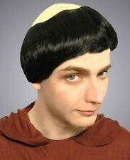 Monks Wig with Bald Patch Great Black Haired Monk Dress Costume Wig Adults