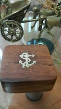 VINTAGE COMPASS MARITAME BOX WITH WOOD AND BRASS BRONZE LOGO