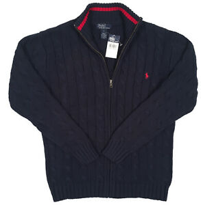 NEW Polo Ralph Lauren Boys Sweater! Navy or Black  Full Zip Cardigan  Red Player